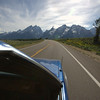 driving down to the Grand Tetons