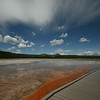 walking next to the Grand Prismatic Spring