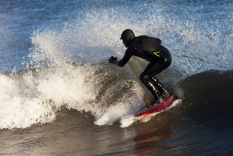 Surfing in February, Georgica Beach