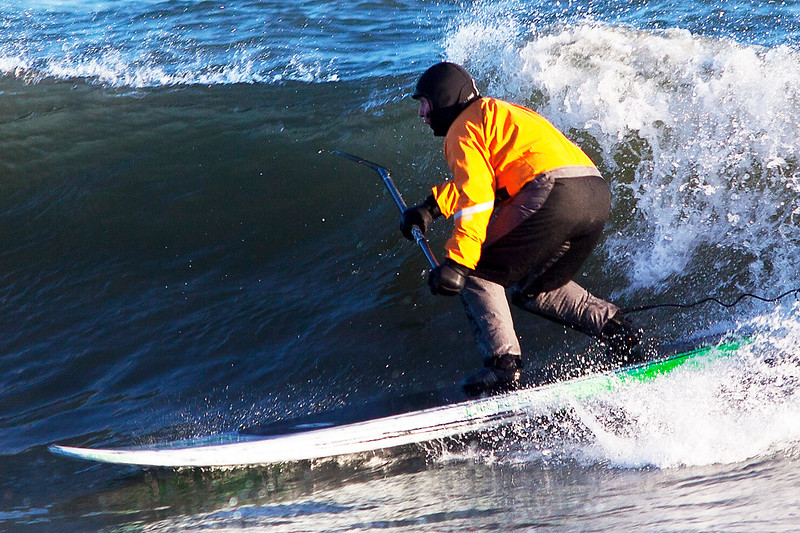 Paddle Surfing in February, Georgica Beach