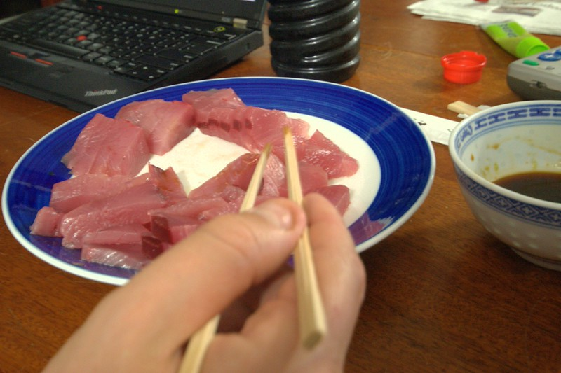 sashimi from the big-eye tuna SkyTee caught