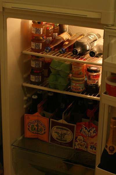 fridge full of matelade and IPA