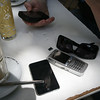 phones on a brunch table