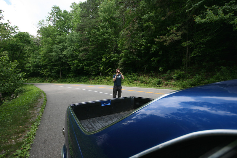 skytee and the curve of the el camino in smoky mountain national park