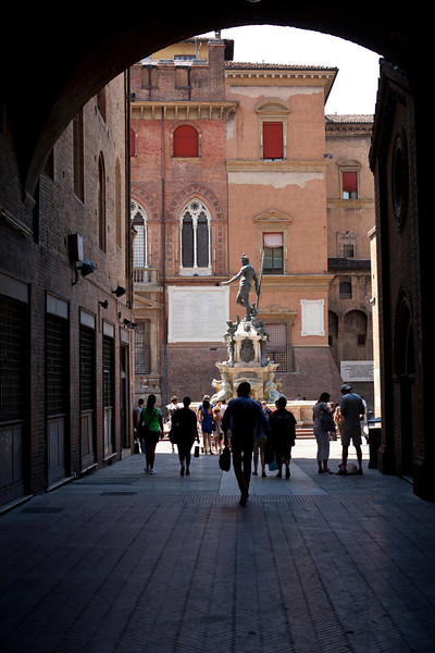 Bologna Alleyway Leading to Statue of Poseidon