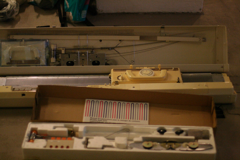the brother kh-930 knitting machine and a kajillion add on parts on day 2 of dev camp 10.