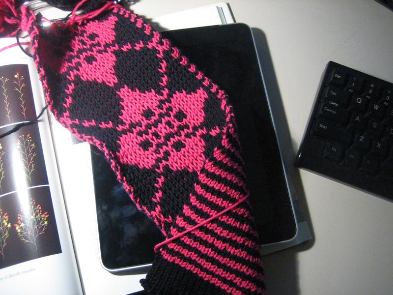 dbj on kh260, striped on back, slip stitched design on front
