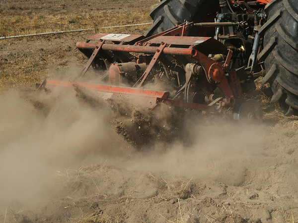 Dry and dusty ground being spaded.