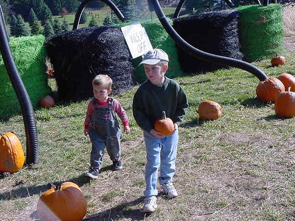 cute kids in the pumpkin patch