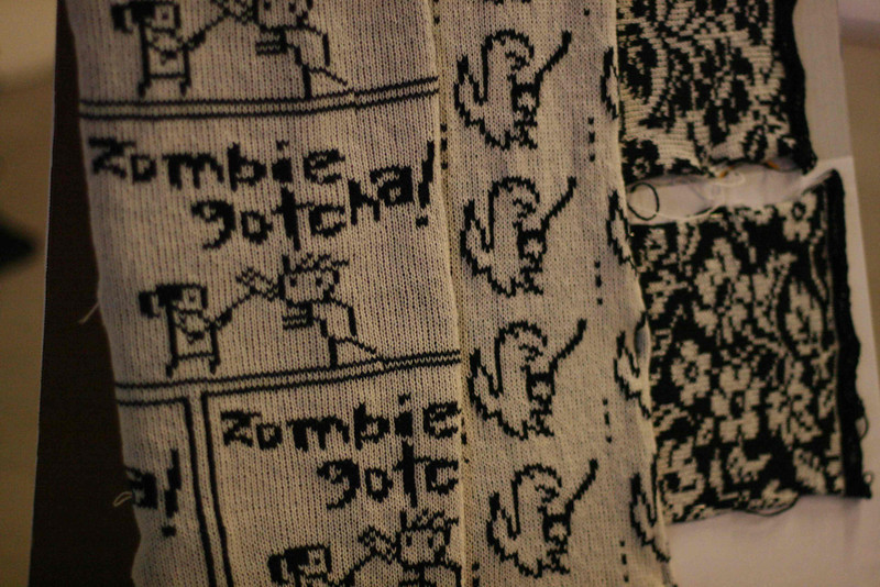 knitting @travisgoodspeed's zombie gotcha on the brother kh-930 at @mediamatic