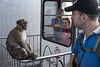 15 October 2016: a monkey looks at arriving tourists at the upper cable car station on Upper Rock, Gibraltar.