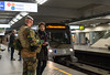 3 May 2016: following the terrorist attacks in March, armed soldiers and police guard Brussels metro stations and other sensitive locations.