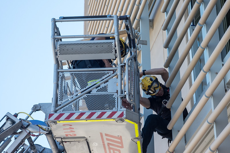 15 February 2018: a firefighter enters our building through a first floor window.