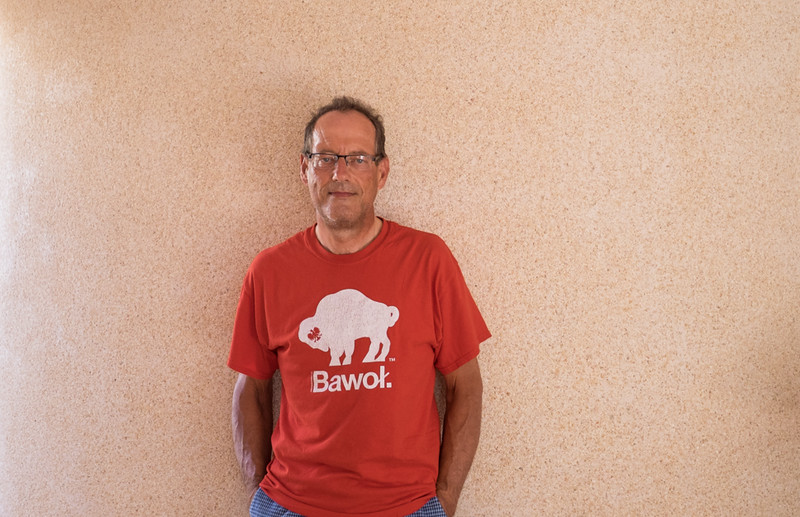 """25 June 2016: ready for football. I am wearing my Polish shirt bought two years ago in Buffalo, N.Y. (""""bawoł"""" means buffalo in Polish) for the Poland-Switzerland match in the Euro2016 football championship. Poland won and will face Belgium in the quarterfinal on Thursday."""