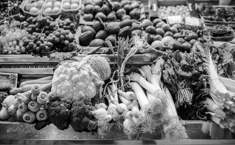 25 October 2016: vegetables at Mercado Central. Leica M2, 50mm Summilux, Fuji Acros.