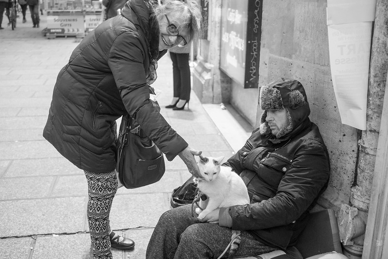 14 March 2018: a homeless man with his cat,  Place Saint-Michel.