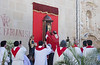 12 April 2018: the key moment--the relic is brought outside and placed in the small alcove, and Mass begins. On the left is a statue of San Vicente Ferrer, the patron saint of the Comunitat Valenciana.