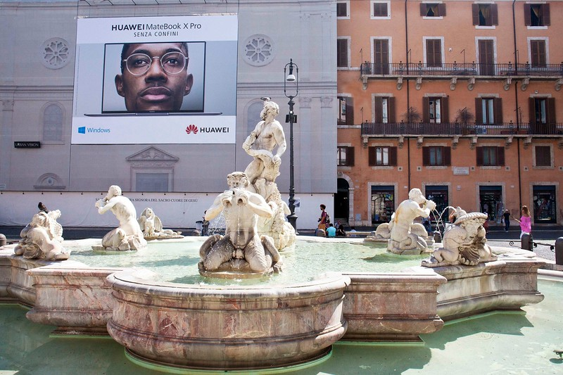 Looking Back at the 2018 Addition to the Piazza Navona from Fontana del Moro (Moor's fountain)