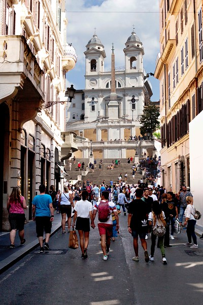 Church of the Trinita dei Mont and the Spanish Steps, above the Piazza di Spagna