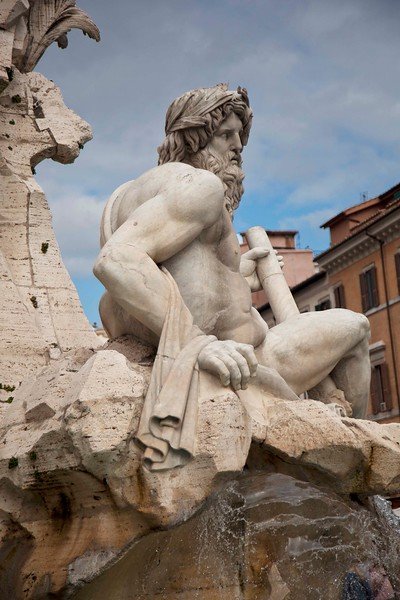 Portion of Fountain of the Four Rivers, a Bernini Sculpture,  Piazza Navona