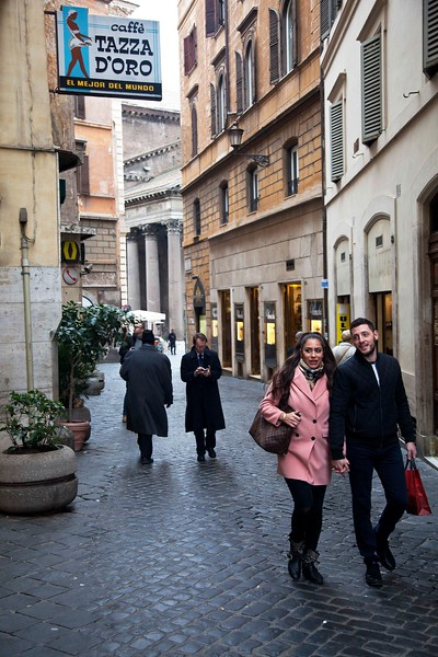 Walking Past Tazza D'Oro, Pantheon in the Distance