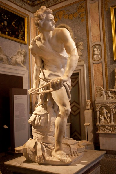 Bernini's David.  Bernini is able to portray the concentration in David's face and the stored energy in his body as he is about to unleash the rock.