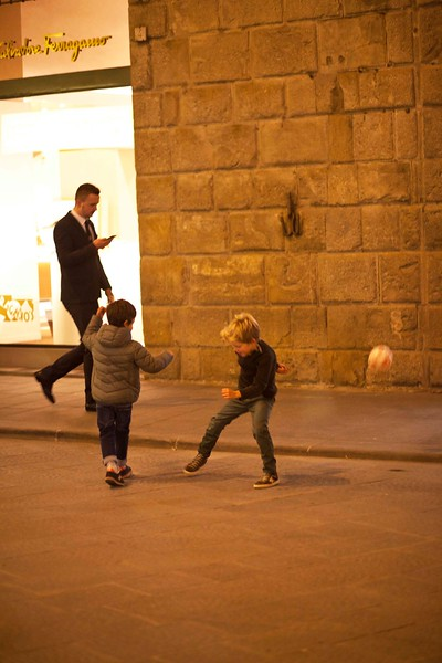 "Pick-Up Soccer Game, ""Under the Lights,"" Via Tornabuoni, Florenze"