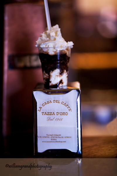 Granita a Panno (Frozen Crushed Brazilian Espresso with whipped cream) Served at Tazza D'Oro Near the Pantheon.