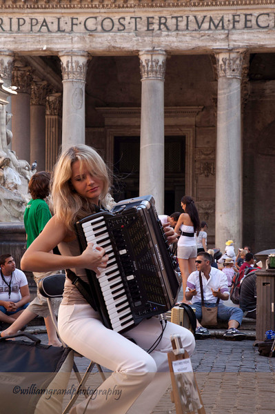 Performer in Square in Front of Pantheon