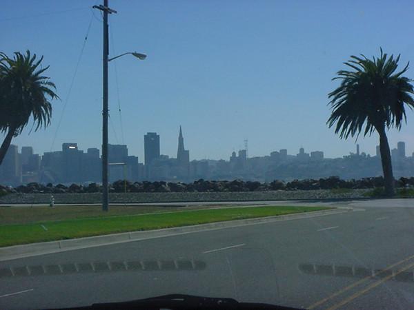 the city through the car window