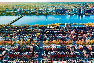 The Back Bay, Charles River, and Cambridge, from Boston