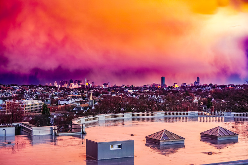 Boston Skyline Under Sunset Rainclouds 3