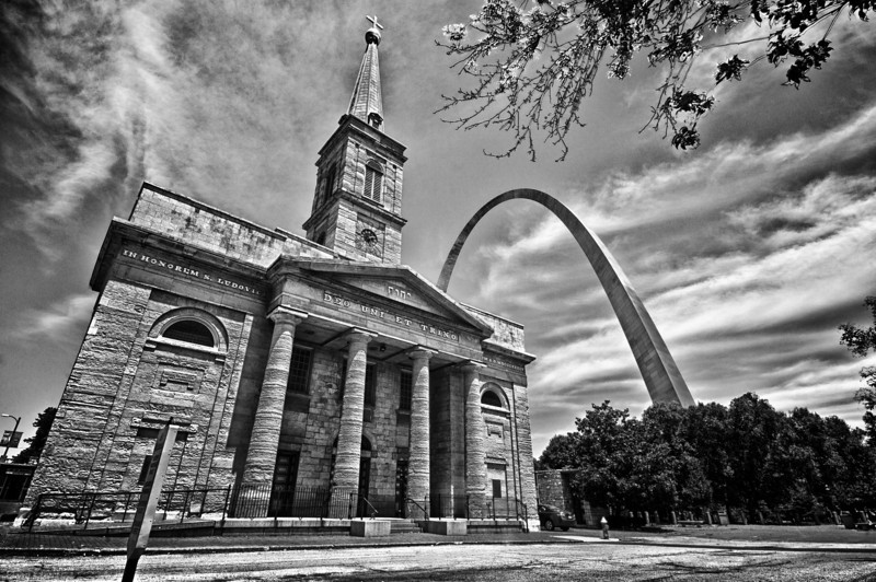 The Gateway Arch and the Old Cathedral in Downtown St. Louis.
