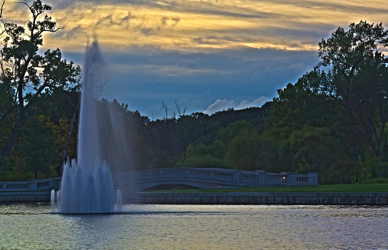 Fountain in the Grand Basin in Forest Park at Dawn.