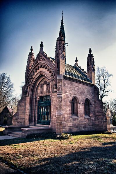 The mausoleum of Adolphus Busch in Bellefontaine Cemetery.