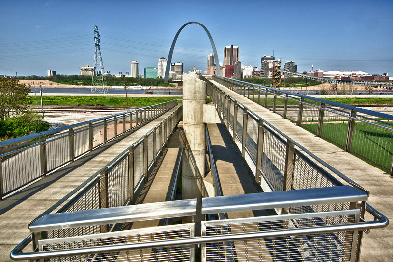 A view of the Gateway Arch from the Malcolm W. Martin Memorial Park in East St. Louis.