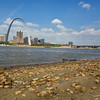 The Gateway Arch from the beach in East St. Louis.