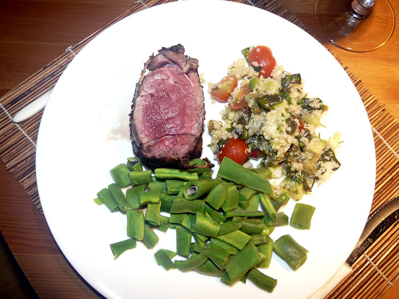 Mmmmmm. My garden-fresh scarlet runners, quinoa (with garden-fresh tomatoes and basil and parsley and chives) and medium rare lamb--not from my garden.