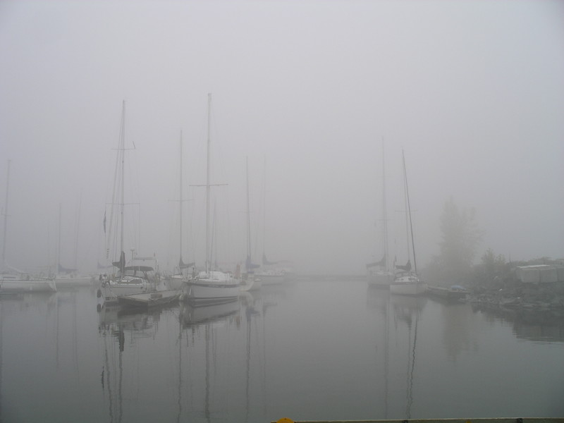 Pointe Claire yacht club in the fog.