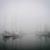 Sailboats in the fog in Pointe Claire.