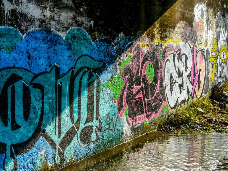 Cacophony of colour under the bridge.