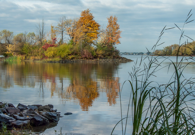 The islands in the Baie de Vaudreuil have started taking out their fall wardrobe.