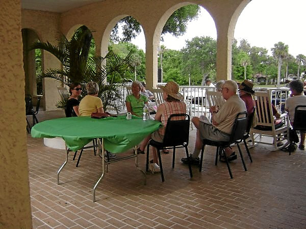 Members relaxing on Riviera courtyard