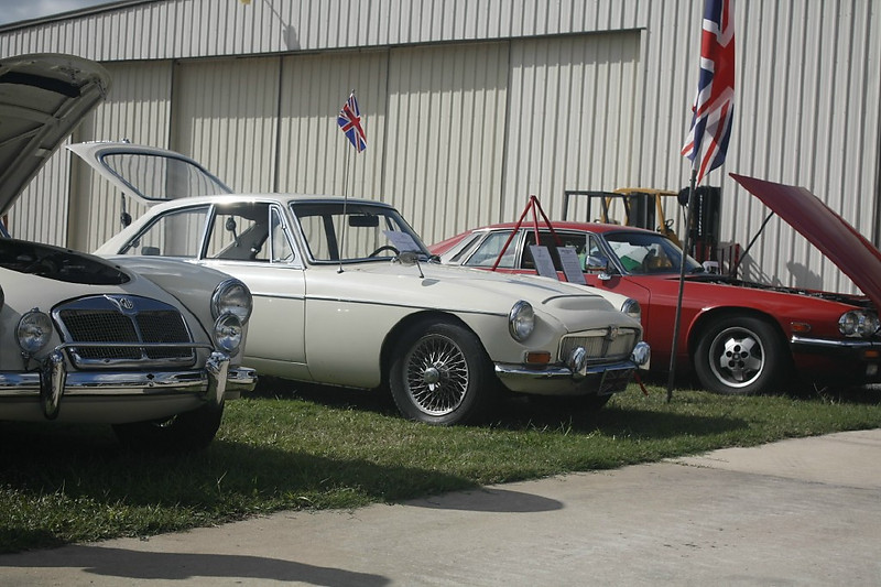 Timeless Wheels & Wings Show, New Smyrna Beach - October 2010 <br /> Colby MGC GT and Peck Jaguar