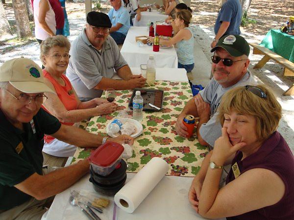 picnic, group shot after eating (2) <br /> Washington Oaks Picnic <br /> May 22 2010