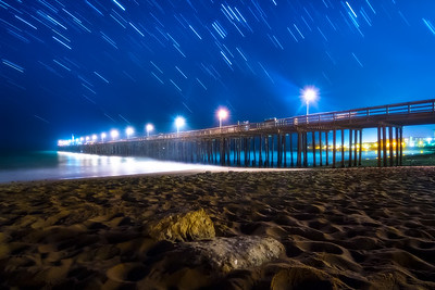 Star trails over Ventura Pier