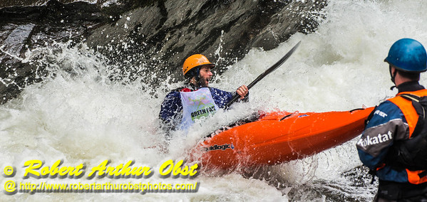 """Green River Race Narrows Extreme Wildwater Mayhem & Chaos Sequence - Jason Hale  - overall final rank number 29 with a time of 04:51  - in a Liquidlogic Stinger Long K1 forward surfing within the ""Speed Trap"" near the base of class 5+ Gorilla The Flume rapids within the Green River Narrows"" (USA NC Saluda; Obst FAV Photos Nikon D800 Daily Best Obst Image 5232)"
