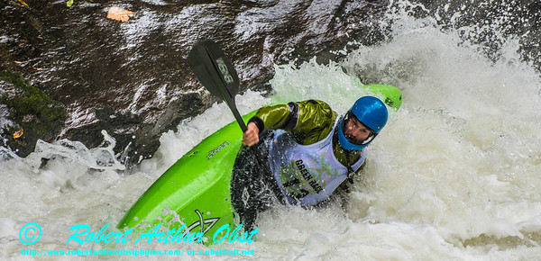 """Green River Race Narrows Extreme Wildwater Mayhem & Chaos Sequence - Drew Austell - overall final rank number 29 with a time of 04:51  - in a Dagger Green Boat Long K1 bracing within the ""Speed Trap"" near the base of class 5+ Gorilla The Flume rapids within the Green River Narrows"" (USA NC Saluda; Obst FAV Photos Nikon D800 Sports Fun Extraordinaire Action Outdoors Image 5145)"