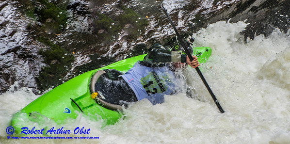 """Green River Race Narrows Extreme Wildwater Mayhem & Chaos Sequence - Jake Greenbaum - overall final rank number 27 with a time of 04:49  - in a Liquidlogic Stinger Long K1 forward bracing within the ""Speed Trap"" near the base of class 5+ Gorilla The Flume rapids within the Green River Narrows"" (USA NC Saluda; Obst FAV Photos Nikon D800 Sports Fun Extraordinaire Action Outdoors Image 5138)"