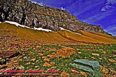 Hiker's breathtaking view of Mt. Cannon and colorful rocks from Hidden Lake Overlook Trail near Logan Pass within Glacier National Park (USA MT West Glacier)